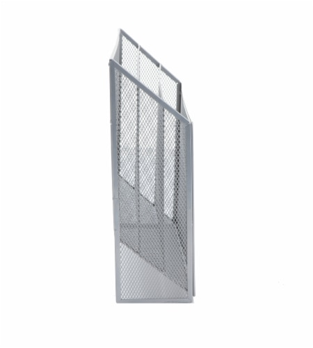 Mind Reader 3-Tier Mesh Free Standing and Wall File Holder - Silver Perspective: right