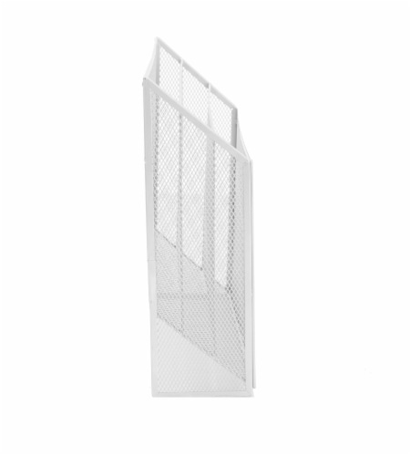 Mind Reader 3-Tier Mesh Free Standing and Wall File Holder - White Perspective: right