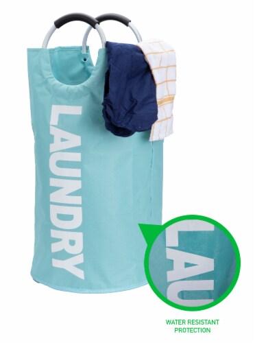 Mind Reader 82 Liter Large Laundry Hamper Basket - Blue Perspective: right