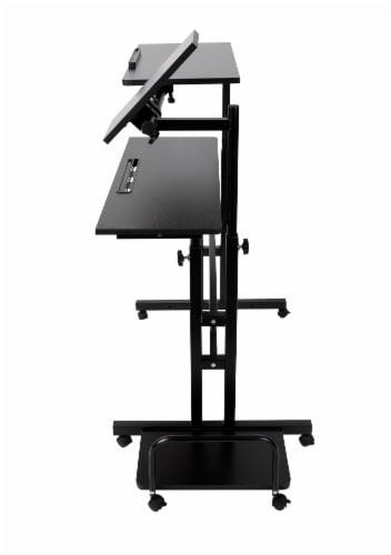 Mind Reader Large Rolling Sitting and Standing Reversible Workstation Desk - Black Perspective: right