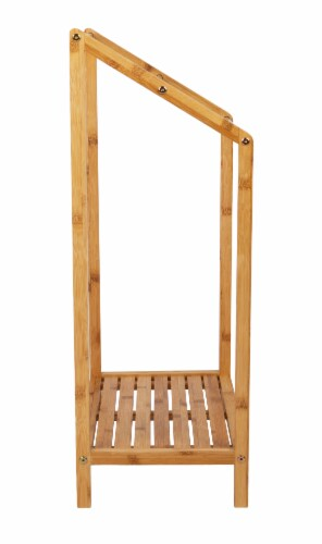 Mind Reader 3-Tier Freestanding Bamboo Drying Rack with Bottom Shelf Perspective: right
