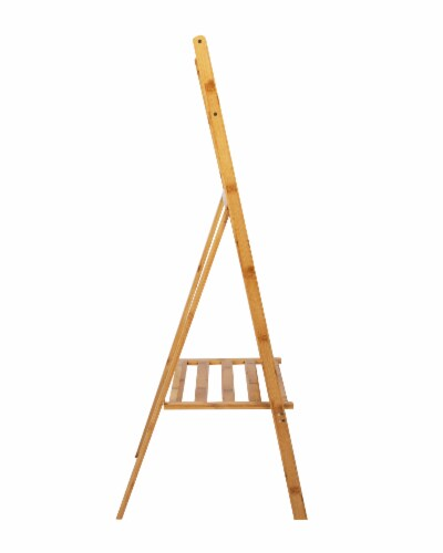 Mind Reader Freestanding Bamboo Drying Rack with Shelf Perspective: right