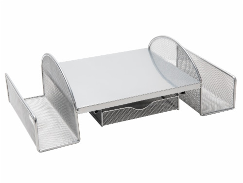 Mind Reader Mesh Monitor Stand with Side Storage - Silver Perspective: right