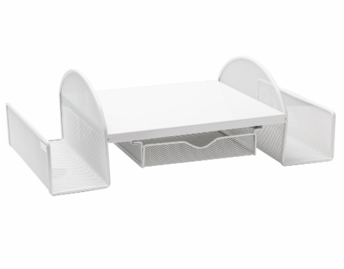 Mind Reader Mesh Monitor Stand With Side Storage - White Perspective: right