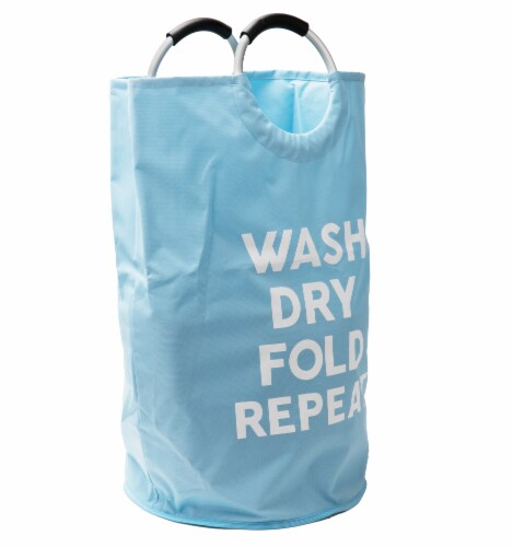 Mind Reader Foldable Cloth Laundry Bag With Handles - Blue Perspective: right