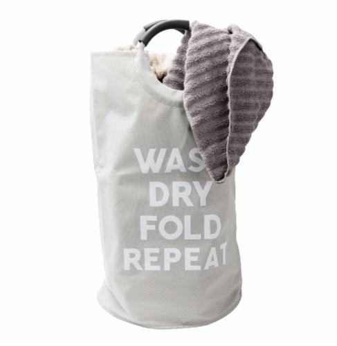 Mind Reder Foldable Cloth Laundry Bag With Handles - Grey Perspective: right
