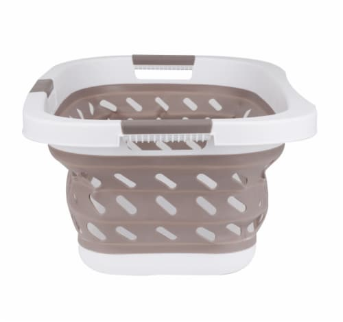 Mind Reader Plastic Collapsible Laundry Basket - Brown Perspective: right