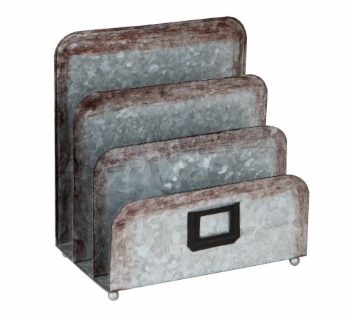 Mind Reader 3 Section Galvanized Metal Magazine Holder - Silver Perspective: right