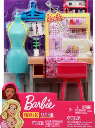 Barbie Fashion Design Studio Playset with Sewing Machine Station, Dress Form and Themed Toys Perspective: right