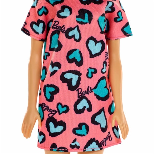 Barbie Brunette Doll Heart Print Dress and Platform Sneakers - Pink/Blue Perspective: right