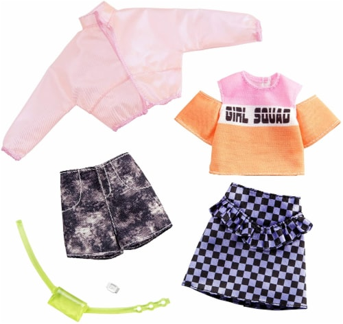 Barbie Jacket Top Skirt Shorts & Doll Accessories Perspective: right