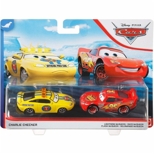Disney PIXAR Cars Charlie Checker and Lightning McQueen Toy Racers Perspective: right