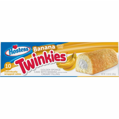 Hostess Twinkies Banana Flavored Golden Sponge Cakes Perspective: right