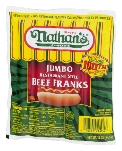 Nathan's Jumbo Restaurant Style Beef Franks 5 Count Perspective: right