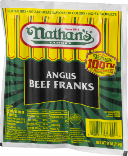 Nathan's Famous Angus Beef Franks 6 Count Perspective: right