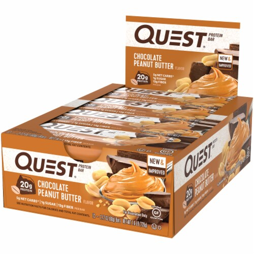 Quest Chocolate Peanut Butter Protein Bars 12 Count Perspective: right