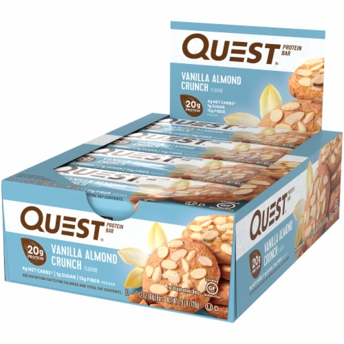 Quest Vanilla Almond Crunch Flavor Protein Bars Perspective: right