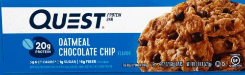 Quest Oatmeal Chocolate Chip Protein Bars 12 Count Perspective: right