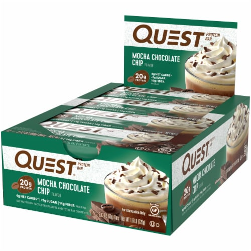 Quest Mocha Chocolate Chip Protein Bars 12 Count Perspective: right
