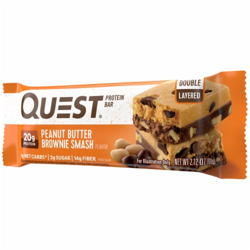 Quest Peanut Butter Brownie Smash Protein Bar Perspective: right