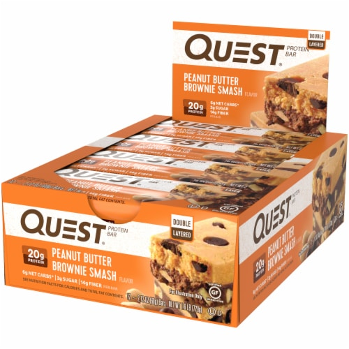 Quest Peanut Butter Brownie Smash Protein Bars 12 Count Perspective: right