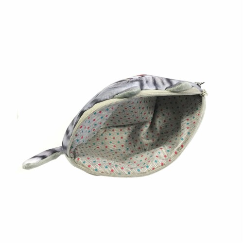 Wrapables Cat Face Cosmetic Pouch Pencil Case (Set of 2), Playful & Happy Perspective: right