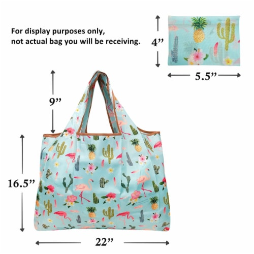 Wrapables Large Nylon Reusable Shopping Bag, Peacocks & Peonies Perspective: right