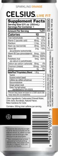 Celsius Sparkling Orange Dietary Supplement Energy Drink Perspective: right