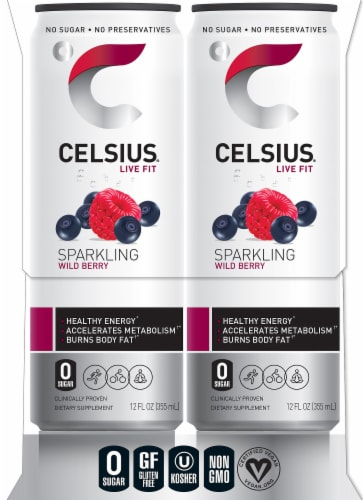 Celsius Sparkling Wild Berry Drink Perspective: right