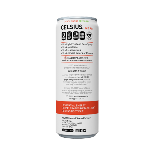 Celsius Peach Mango Green Tea Dietary Supplement Energy Drink Perspective: right