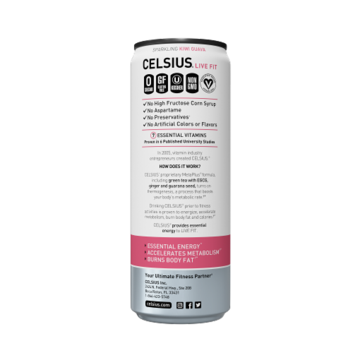 Celsius Sparkling Kiwi Guava Dietary Supplement Energy Drink Perspective: right