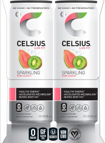 Celsius Kiwi Guava Sparkling Energy Drink Perspective: right