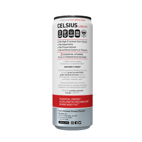 Celsius Sparkling Fuji Apple Pear Dietary Supplement Energy Drink Perspective: right