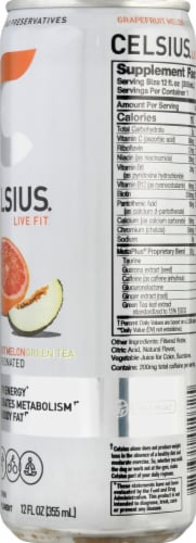Celsius Grapefruit Melon Green Tea Dietary Supplement Energy Drink Perspective: right