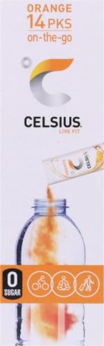 Celsius Live Fit Orange Pre-Workout Formula Packets Perspective: right