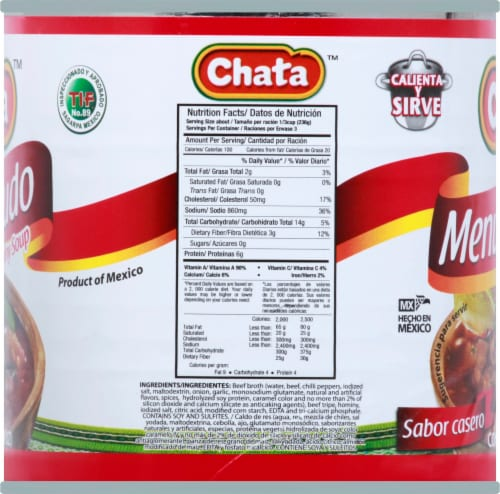 Chata Homestyle Red Menudo with Hominy Soup Perspective: right