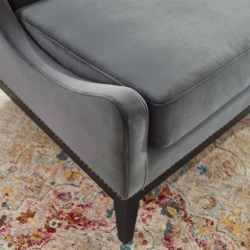 Confident Accent Upholstered Performance Velvet Lounge Chair Perspective: right