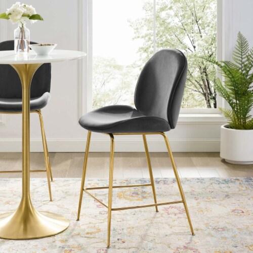 Scoop Gold Stainless Steel Leg Performance Velvet Counter Stool - Gray Perspective: right
