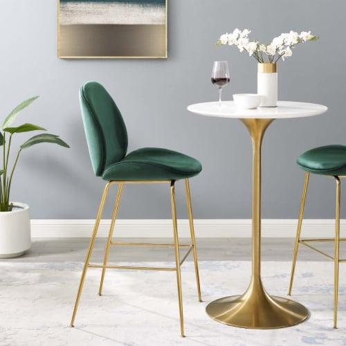 Scoop Gold Stainless Steel Leg Performance Velvet Bar Stool - Green Perspective: right