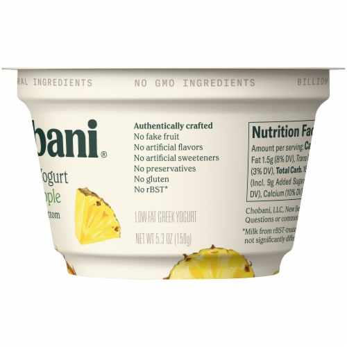 Chobani Pineapple on the Bottom Low-Fat Greek Yogurt Perspective: right