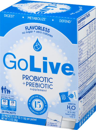 GoLive Flavorless Probiotic & Prebiotic Supplement Perspective: right