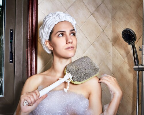 Basicare Trio Bath Brush  Body Sponge   Body Brush   Bath Brush Perspective: right