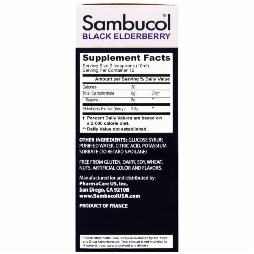 Sambucol Black Elderberry Gluten Free Dietary Supplement Perspective: right