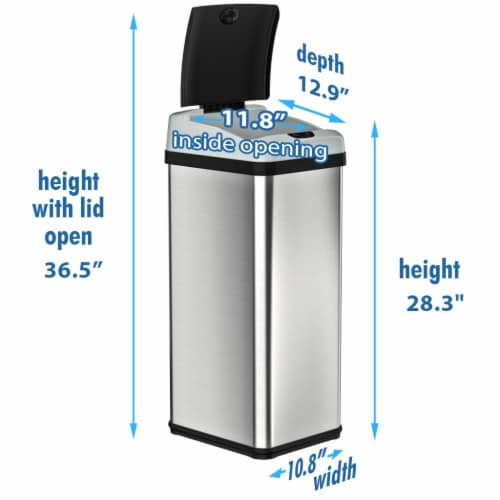 iTouchless IT13RX 13 Gallon Touchless Kitchen Garbage Trash Can, Stainless Steel Perspective: right