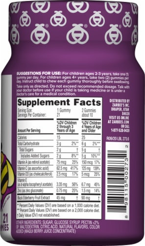 Zarbee's Natural's Children's Elderberry Flavored Immune Support Dietary Gummies Perspective: right