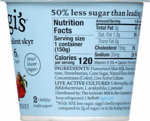 Siggi's 2% Strawberry Skyr Icelandic Style Low Fat Strained Yogurt Perspective: right