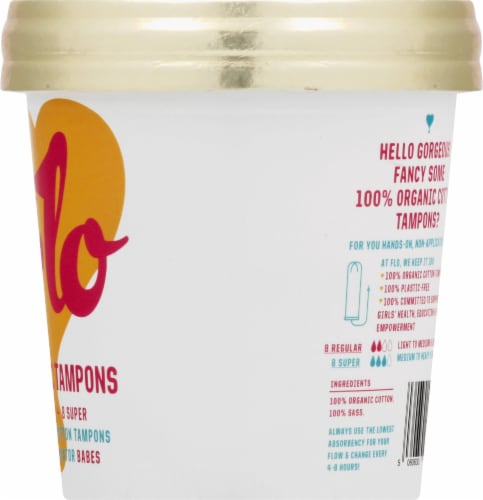 FLO Non-Applicator Organic Tampons Perspective: right
