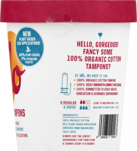 FLO Eco-Applicator Organic Tampons Perspective: right