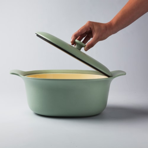 BergHOFF Ron Cast Iron Oval Covered Casserole - Green Perspective: right
