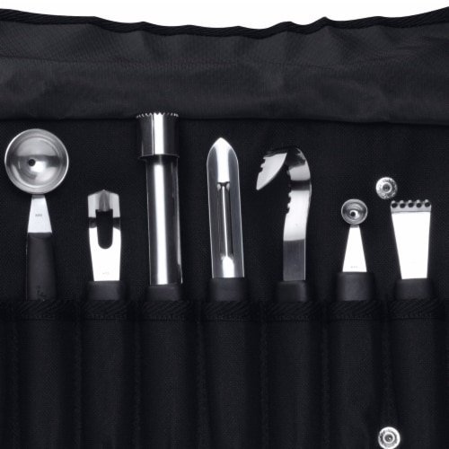 BergHOFF Essentials Stainless Steel Garnishing Tool Set & Case - Black/Silver Perspective: right